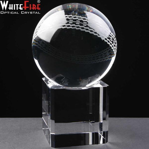 Optical Crystal WhiteFire Cricket Ball with Base